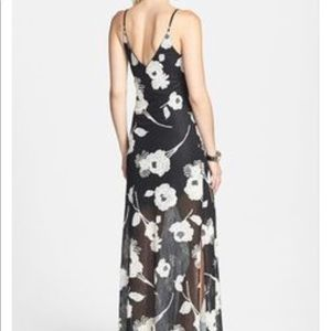 Black long dress with white flowers